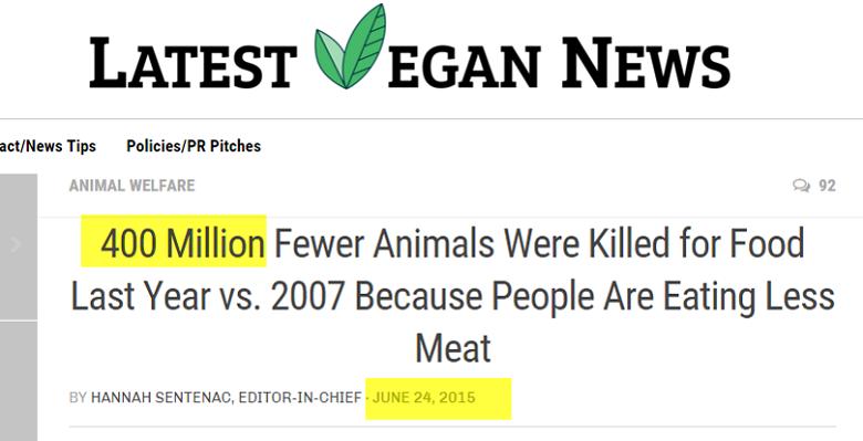 ארבע מיליון פחות בעלי חיים נשחטו בשביל מזון