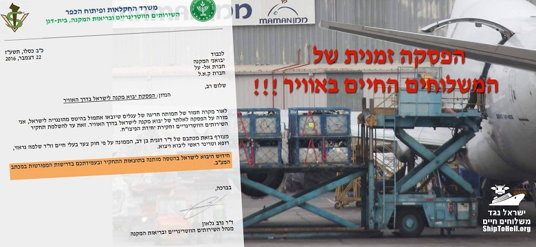 הפסקת יבוא מקנה לישראל בדרך האוויר