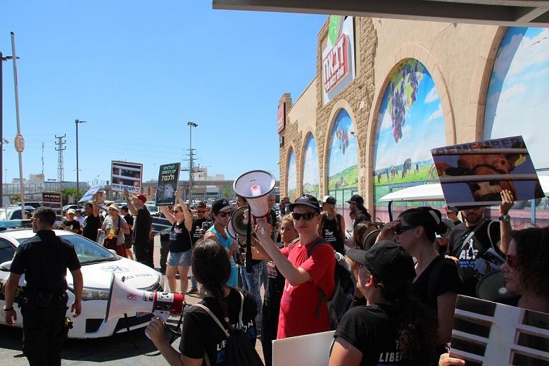 המאבק נגד משלוחים חיים לשחיטה בישראל עולה מדרגה: למעלה מ-100 פעילים הפגינו מול חנות מפעל היבואן דבאח