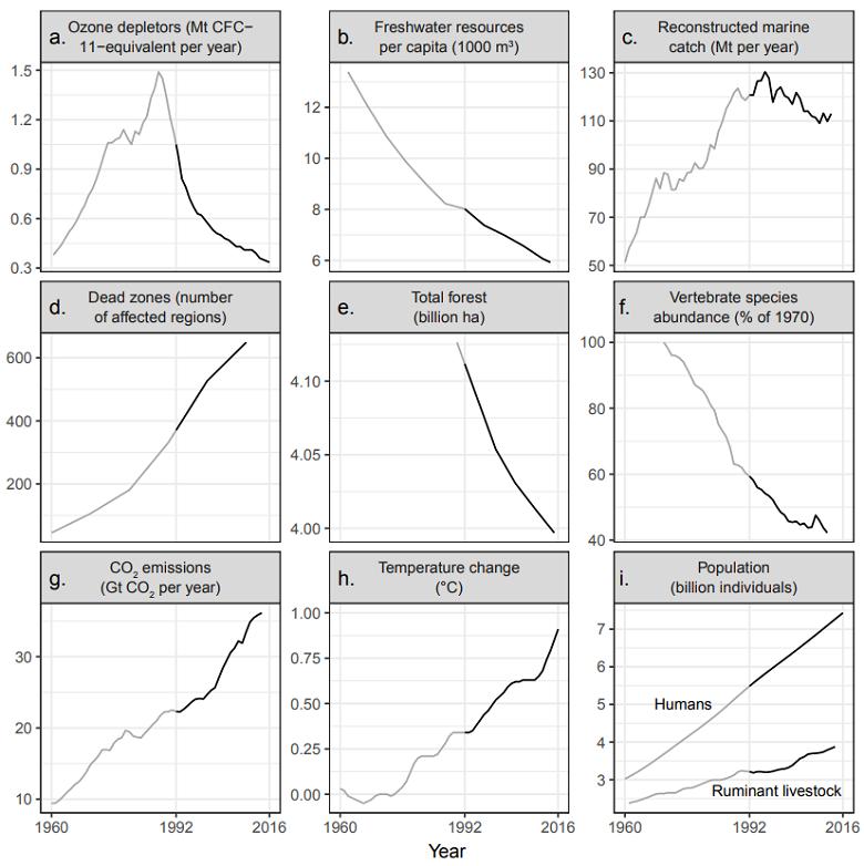 תרשימים של המגמות האקולוגיות - מתוך נייר העמדה