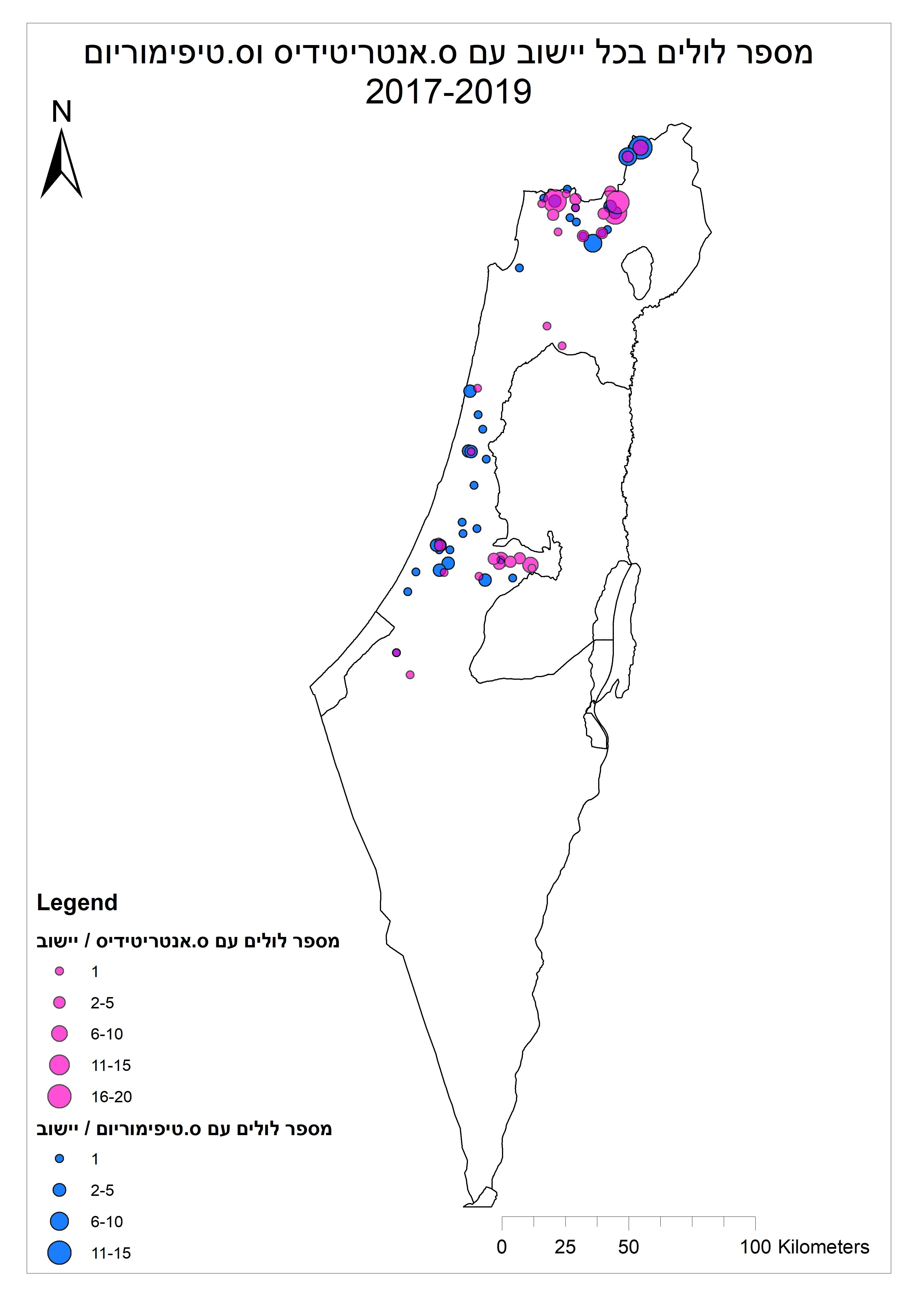 לולים נגועים בסלמונלה - מפה שנתית